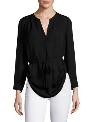 Gerogette Crossover Front Tie Blouse by Joie