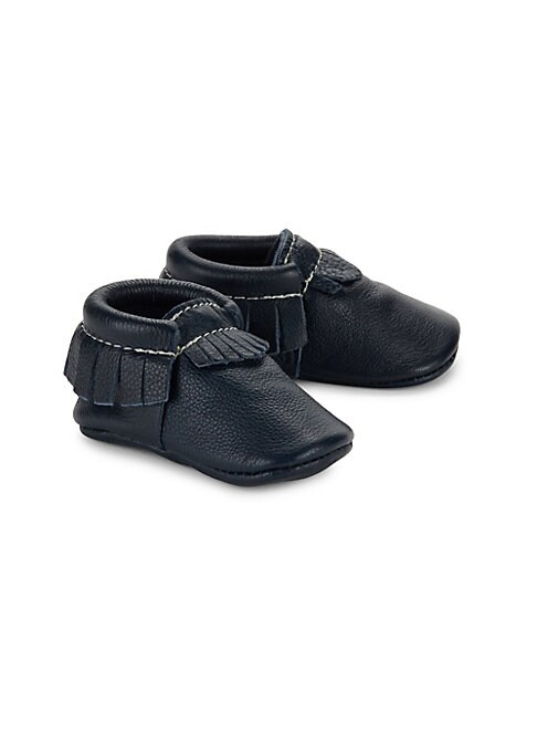 Image of Fringed accents amplify these leather moccasins. Slip-on style. Leather upper. Leather lining and sole. Made in USA.