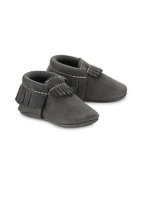 Image of Creative fringe trim accents adorn this leather shoe Slip-on style Leather upper Leather lining Leather sole Made in USA. Children's Wear - Children's Shoes > Saks Fifth Avenue. Freshly Picked. Color: Blue Spruce. Size: 4 (Baby).