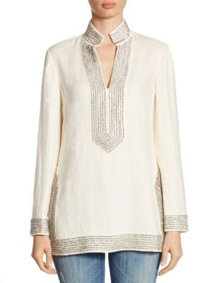 Crystal-Embellished Linen Tunic by Tory Burch