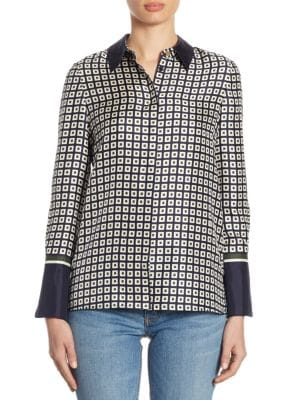 Marea Geometric Silk Button-Down Shirt by Tory Burch
