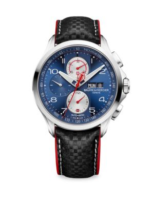 "Image of Clifton Club Shelby Cobra Collection. Limited edition - 1964 pieces. Automatic chronograph movement. Water resistant to 5 ATM. Round polished and satin-finished stainless steel case, 44mm (1.75"").Sapphire crystal. Tachymeter sun satin-finished blue dial."