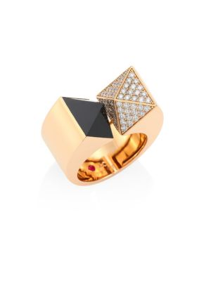 Roberto Coin Sauvage Priv Pyramid Diamond Black Jade 18k Rose Gold Ring