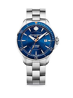 "Image of Clifton Club Collection Classic automatic watch with blue dial and hands and satin-finished stainless steel bracelet Automatic movement Water resistant to 10 ATM Round polished stainless steel case, 42mm (1.5"") Rotating bezel Sapphire crystal Blue dial Ap"