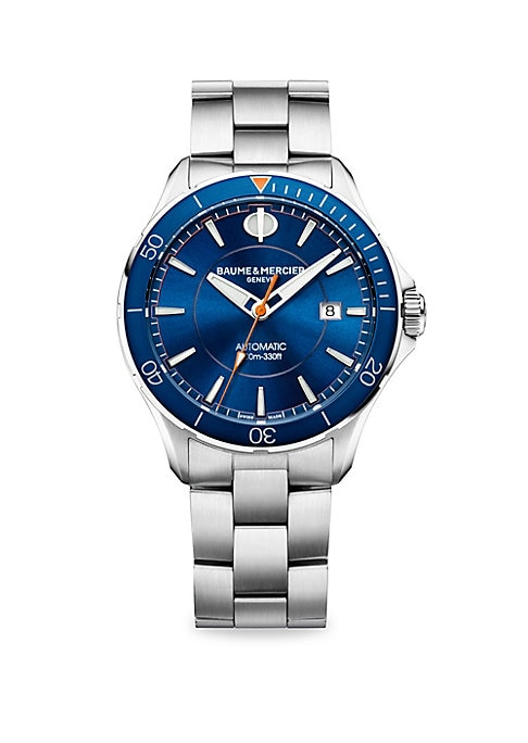 """Image of Clifton Club Collection. Classic automatic watch with blue dial and hands and satin-finished stainless steel bracelet. Automatic movement. Water resistant to 10 ATM. Round polished stainless steel case, 42mm (1.5"""").Rotating bezel. Sapphire crystal. Blue d"""