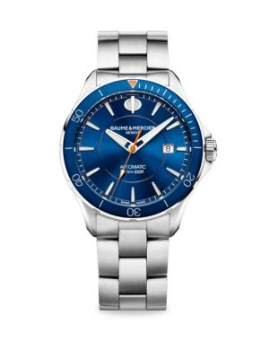 "Image of Clifton Club Collection. Classic automatic watch with blue dial and hands and satin-finished stainless steel bracelet. Automatic movement. Water resistant to 10 ATM. Round polished stainless steel case, 42mm (1.5"").Rotating bezel. Sapphire crystal. Blue d"