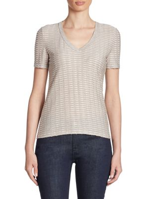 Lurex Twisted Ribbon Jersey Tee by Armani Collezioni