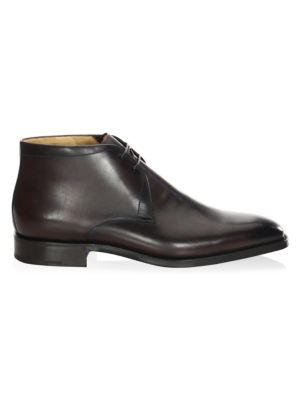Image of .Almond toe leather derbys featuring lace-up detail. .Leather upper. .Almond toe. .Slip-on style. .Lace-up vamp. .Leather lining and sole. .Made in Italy. .
