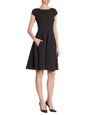 Herringbone Jacquard Fit-&-Flare Jersey Dress