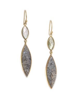 Shana Gulati Rani Sukanya Sliced Raw Diamond Labradorite Drop Earrings