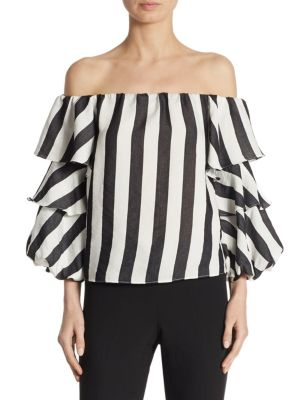 Off-The-Shoulder Striped Ruffle Top by Scripted