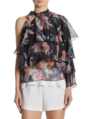 One-Shoulder Tiered Floral Top by Scripted