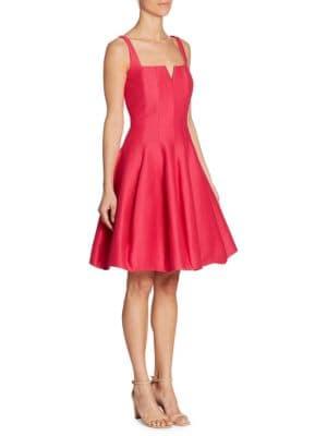 Geo-Neck Solid Dress