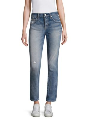 """Image of Fading cotton-blend straight-leg jeans with distressing details. Belt loops. Button fly with button closure. Five-pocket style. Rise, about 10"""".Inseam, about 29"""".Leg opening, about 13"""".Cotton/elastane. Machine wash. Made in Italy of American fabric. Model"""