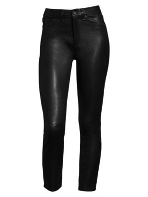 High-Rise Lamb Leather Skinny Pants, Black