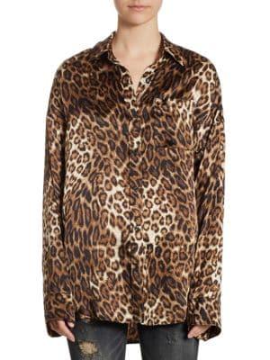 Boy Leopard-Print Silk Shirt by R13