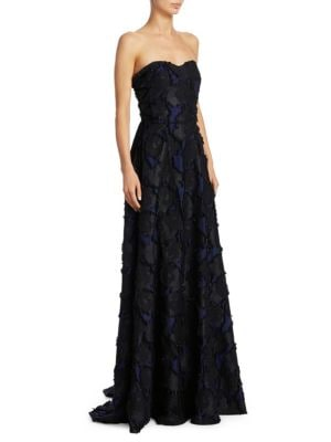 """Image of .EXCLUSIVELY AT SAKS FIFTH AVENUE. Chic gown in lace-up details. Sweetheart neckline. Concealed back zip. About 62"""" from shoulder to hem. Cotton/polyester/metal fibers. Dry clean. Imported. Model shown is 5'10"""" (177cm) wearing US size 4."""