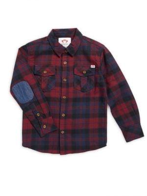 Little Boys  Boys Flannel Cotton Collared Shirt