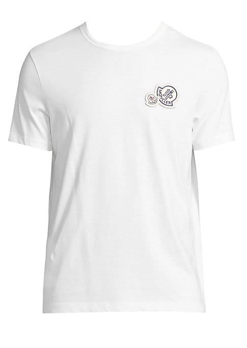 Image of .Cotton tee featuring logo patch detail at chest. .Crewneck. .Short sleeves. .Cotton. .Machine wash. .Imported. .