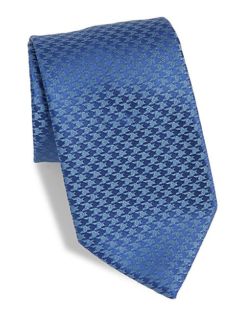"Image of A classic tie with small houndstooth pattern.3"" wide. Silk/linen. Dry clean. Made in France."