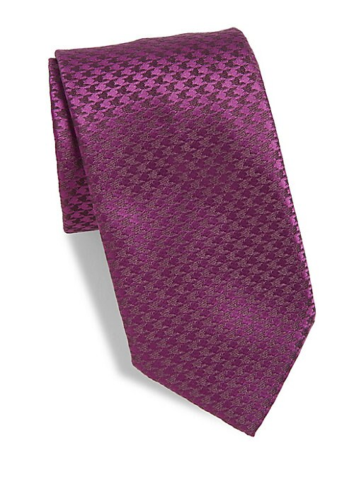 """Image of A classic silk/linen tie with small houndstooth pattern.3"""" wide. Silk/linen. Dry clean. Made in France."""