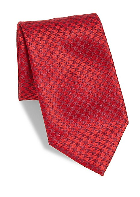 """Image of A classic tie with small houndstooth pattern.3"""" wide. Silk. Dry clean. Made in France."""