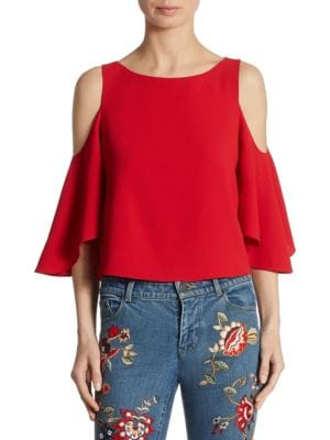 """Image of Elevate your wardrobe with this shoulder-baring top. Bateau neckline. Cold-shoulder. Three-quarter bell sleeves. Exposed back zip. Lined. About 23"""" from shoulder to hem. Polyester. Dry clean. Imported. Model shown is 5'10"""" (177cm) wearing US size 4."""