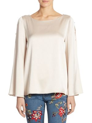 Genia Bell Sleeve Top by Alice + Olivia