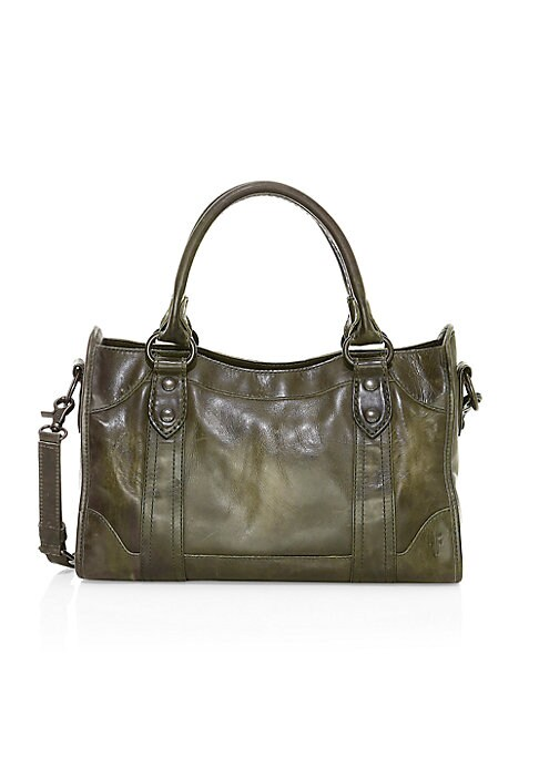 """Image of .Antiqued leather shapes a chic go-to carryall. .Double top handles, 7"""" drop. .Removable, adjustable crossbody strap, 18""""-22"""" drop. .Top zip closure. .One inside zip pocket. .Two inside open pockets. .Fully lined. .14""""W X 9.5""""H X 5.5""""D. .Leather. .Importe"""