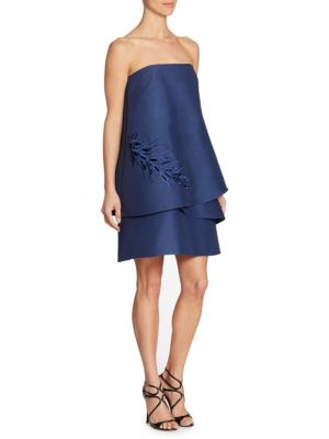 Image of Strapless Tiered Embroidery Detail Dress