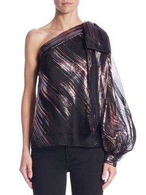 Stripe Lurex Organza Nina Top by MILLY