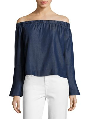 Chambray Bell Sleeve Off-The-Shoulder Top by 7 For All Mankind