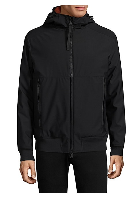 Image of .Casual hooded jacket featuring rib-knit details. .Attached hood with adjustable drawcord. .Long sleeves. .Rib-knit at cuffs and hem. .Exposed front zip. .Side zip pockets. .Lined. .Polyamide/nylon/polyester/nylon. .Dry clean. .Imported. .