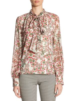 Silk Tie Neck Blouse by Giambattista Valli