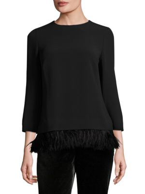 Nynemiata Ostrich Feather Blouse by Escada