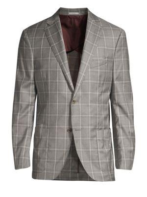 LUCIANO BARBERA Windowpane Wool Suit Jacket in Light Grey