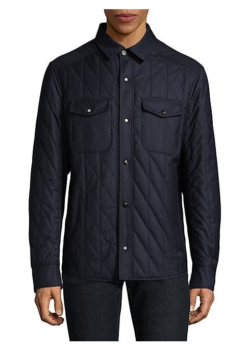 """Image of Line stitched jacket cut in lightweight cotton. Point collar. Long sleeves. Snap barrel cuffs. Front snap closure. Chest snap-flap pockets. About 26"""" from shoulder to hem. Cotton. Dry clean. Made in Italy."""