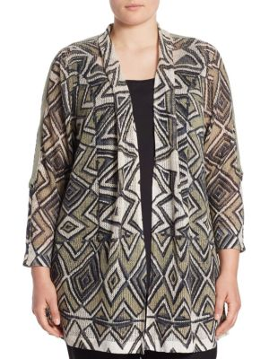 """Image of Eye-catching geometric prints style this cool cardigan. Shawl collar. Open front. Long sleeves. About 27"""" from shoulder to hem. Linen/viscose/nylon. Hand wash. Imported."""