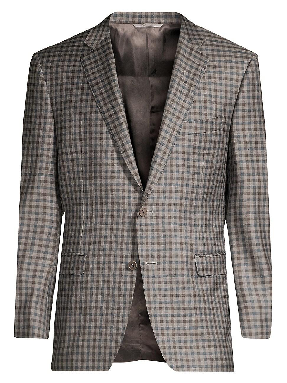 Canali Men's Plaid Wool Jacket In Grey