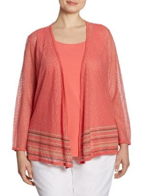 Plus Size Sheer Open Front Cardigan by NIC+ZOE Plus