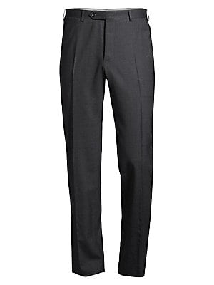 Image of Add polish to a career look with these smartly tailored dress pants. Belt loops Top button Zipper fly Side pockets Two back button-through welt pockets Mid rise Slightly tapered leg Unfinished hem Bemberg lining Wool Dry clean Made in Italy SIZE & FIT Mod