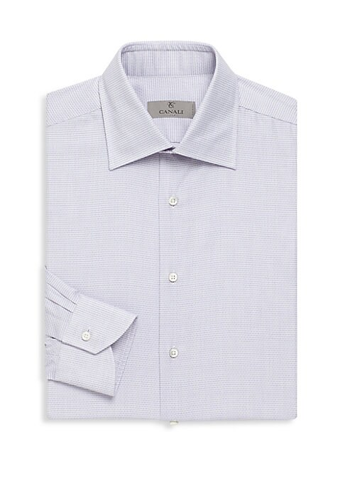 Image of Cotton long sleeve shirt with micro pattern design. Spread collar. Long sleeves. Buttoned cuffs. Button front. Regular-fit. Cotton. Dry clean. Made in Italy.