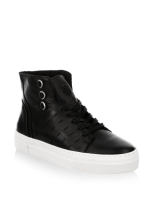 Modern Leather High Top Sneakers, Black Off White