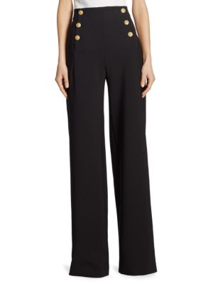 """Image of High waist button-front pants in luxe wool-blend. Button front. Lace-up detail at back. Rise, about 10"""".Inseam, about 30"""".Virgin wool/elastane. Dry clean. Made in Italy. Model shown is 5'10"""" (177cm) wearing US size 4."""