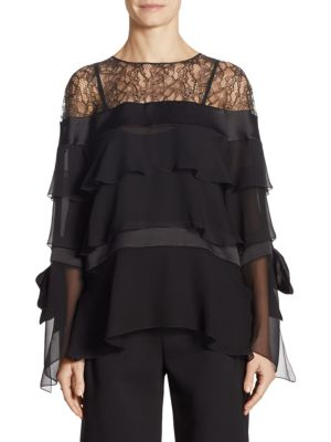 Tiered Lace Silk Blouse by Alberta Ferretti