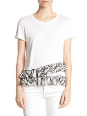 Ruffle-Trim Tee by Scripted
