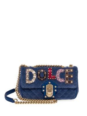 Dolce   Gabbana Embellished Quilted Leather Shoulder Bag In Blue ... 3b337df577586