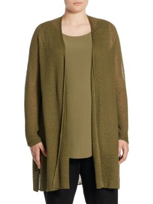 "Image of Breezy sheer cardigan updated in a textured finish. Open front. Long sleeves. Side slits. About 36"" from shoulder to hem. Hemp/nylon. Hand wash. Made in USA."