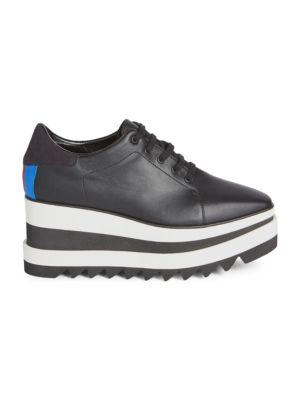 Sneak-Elyse Faux-Leather Platform Trainers, Blackstone