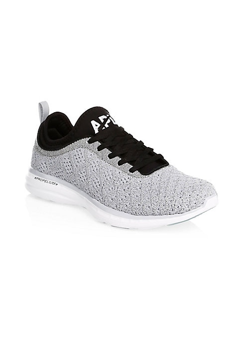 Image of Cashmere-blend sneakers inspired by the shape of a feather. Cashmere and nylon upper. Round toe. Lace-up vamp. Propelium lining. Imported.